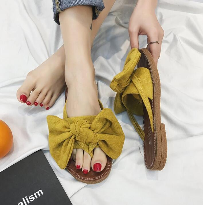 Summer Hot Sale Women Flip Flops Fashion Solid Color Bow tie Flat Heel Sandals Size 36-40 Outdoor Slipper Beach Shoes For Female