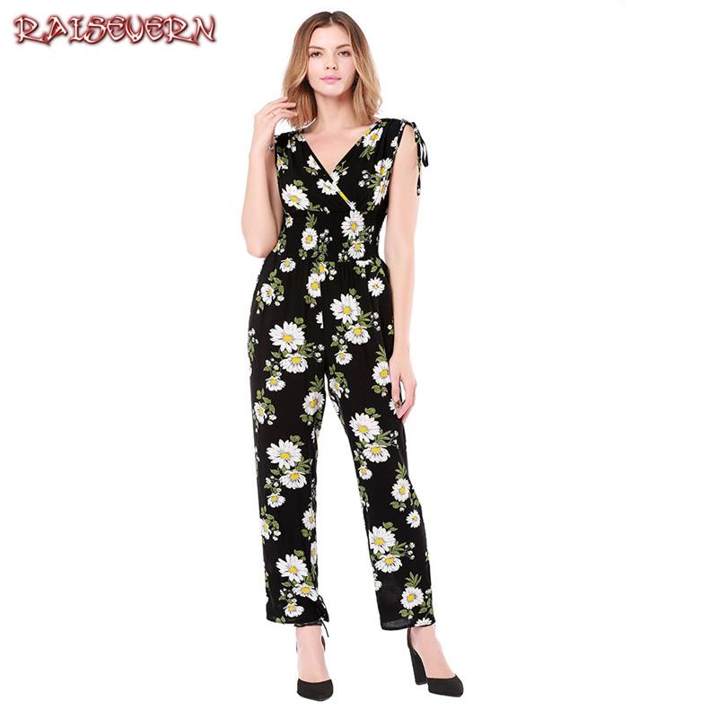 ecc0f0cada5 2019 Wholesale Elegant Bodycon Floral Print Casual Jumpsuits Women Sexy Backless  Sleeveless V Neck Bandages Shoulder Summer Romper From Bclothes001