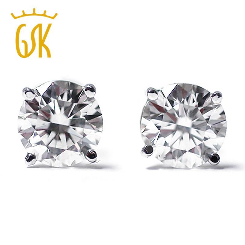 GemStoneKing IGI Certified Natural Diamond-Jewelry 0 33 Ct Round Cut  Diamond 14K White Gold Wedding Stud Earrings For Women