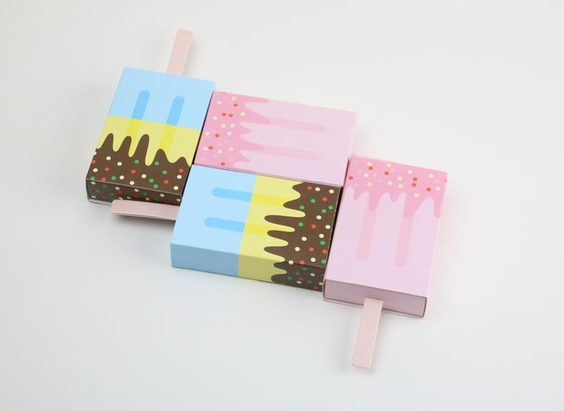 10 Adet Dondurma Şekli Hediye Kutuları Bebek Duş Doğum Günü Partisi Şeker Kutusu Karikatür Çekmece Hediye Çantası Çocuklar için Parti Iyilik Kutusu