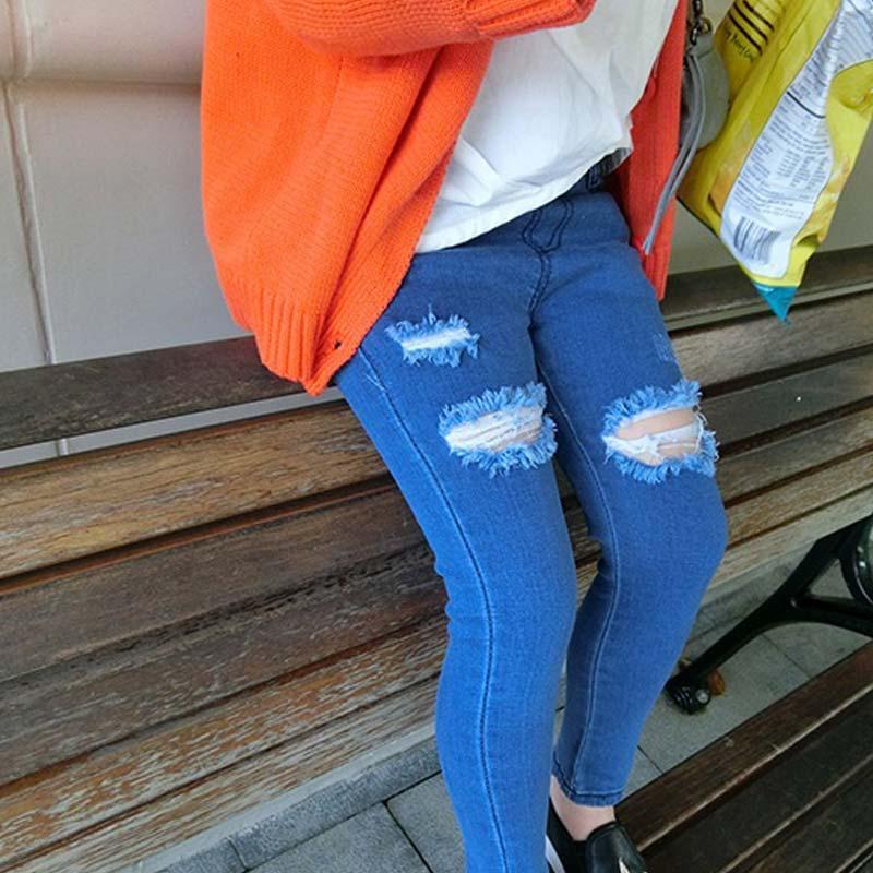Crianças quebrados Buraco Calças Calças 2016 Bebés Meninas Jeans marca de moda outono 2-7Yrs crianças Calças Crianças Vestuário