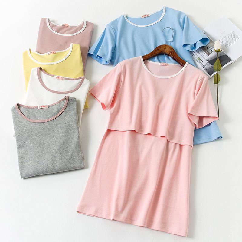 3d134b02b3dd6 2019 2018 Summer Breast Feeding Tops Tees Maternity Nursing Clothes  Pregnant Women Breastfeeding T Shirt Maxi Premama Wear Clothing From  Okbrand, ...