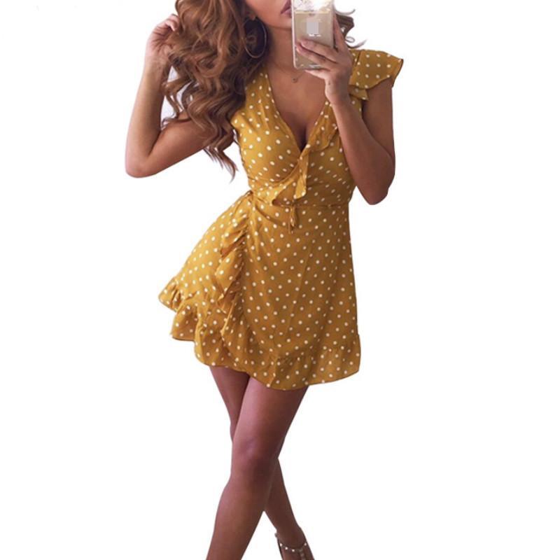 f45ec1a5d039 Acquista Mini Abito Estivo A Pois Giallo Con Scollo A V Ruffle Wrap 2018  Donna Manica Corta A Vita Alta Abito Sexy Una Linea Vestidos A  27.67 Dal  Wanglon02 ...