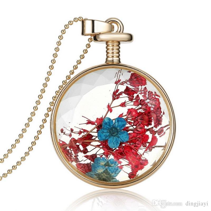 جميلة driedj الزهور الكريستال والزجاج قلادة قلادة طويلة الذهب الخرزة سلسلة قلادة للنساء مجوهرات الجميلة أفضل هدية