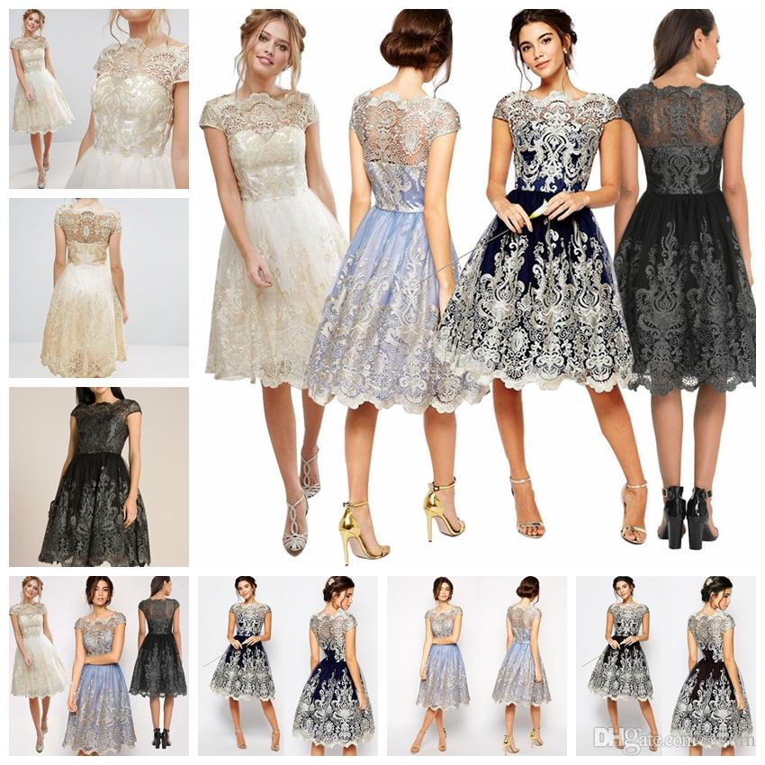 62d3d8d3a002e 2019 European Style Elegant Temperament Bursts Dress Lace Mesh Embroidery  Retro Peng Peng Dress S