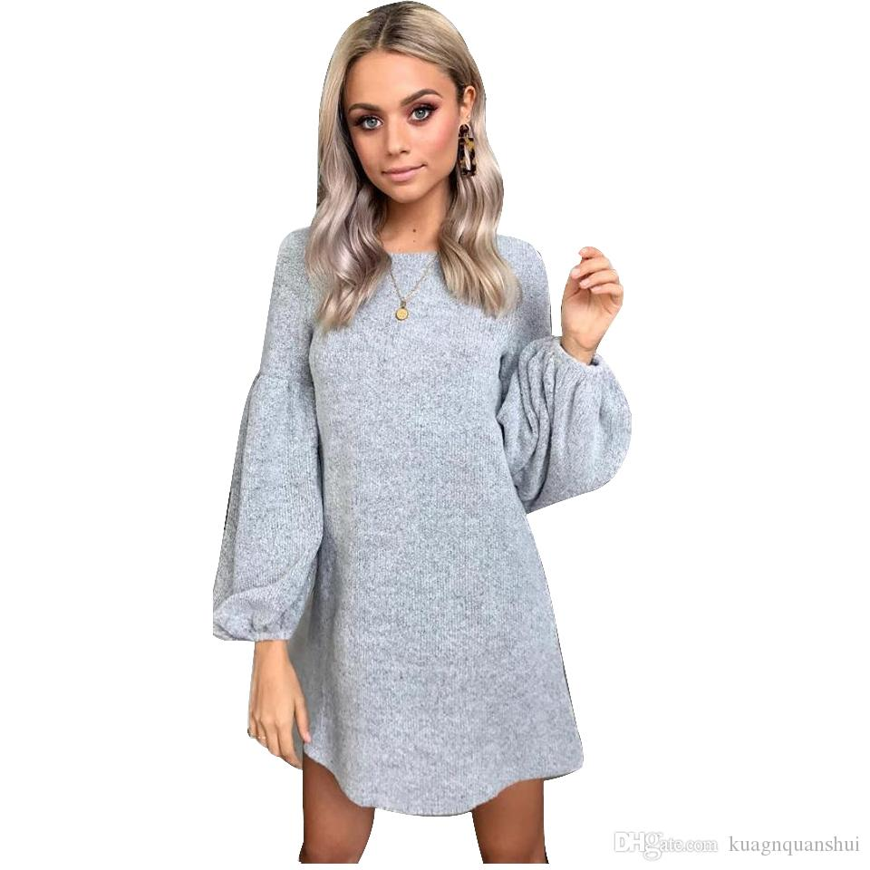 5ec267a10 2018 Women Dress Puff Sleeve Sweater Dress Female Casual Knitting Winter O  Neck Long Sleeve Knitted Dress Ladies Robe Femme Dressing Style For Women  ...
