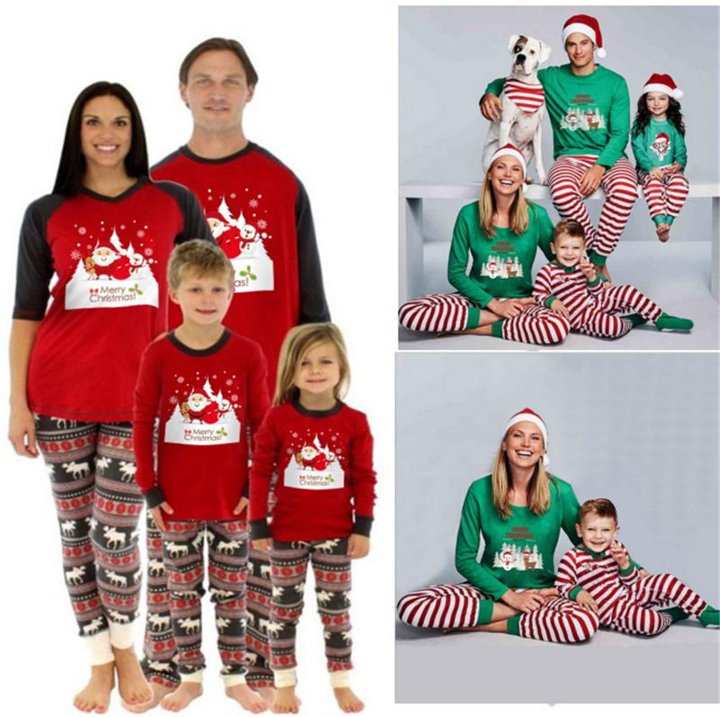 Christmas Pajamas Children Adult Family Matching Xmas Deer Striped ...