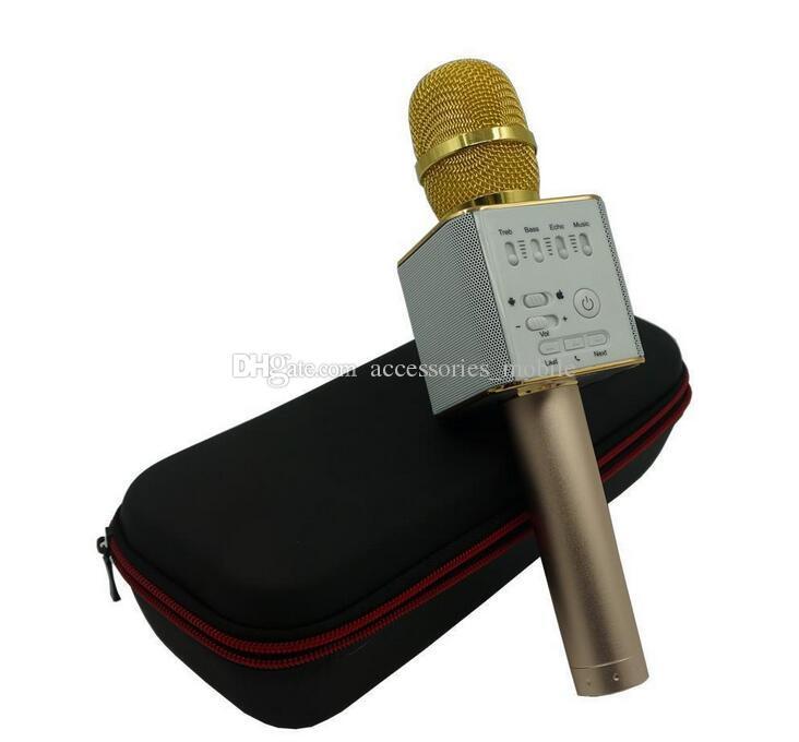 Nouveau type Magic Bluetooth Microphone Haut-Parleur Q9 Karaoke Singing Record Player KTV Sans Fil Microphone Portable pour iPhone7 plus Samsung S7 Ed