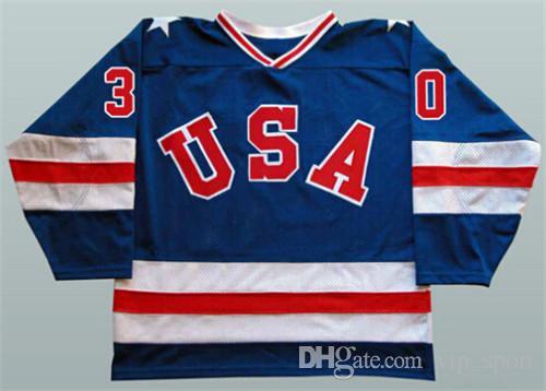 1980 EUA Hóquei 21 Mike Eruzione Jersey Homens Azul Branco 30 Jim Craig 17 Jack Ocallahan Jerseys Bordados E Costura Atacado E Varejo