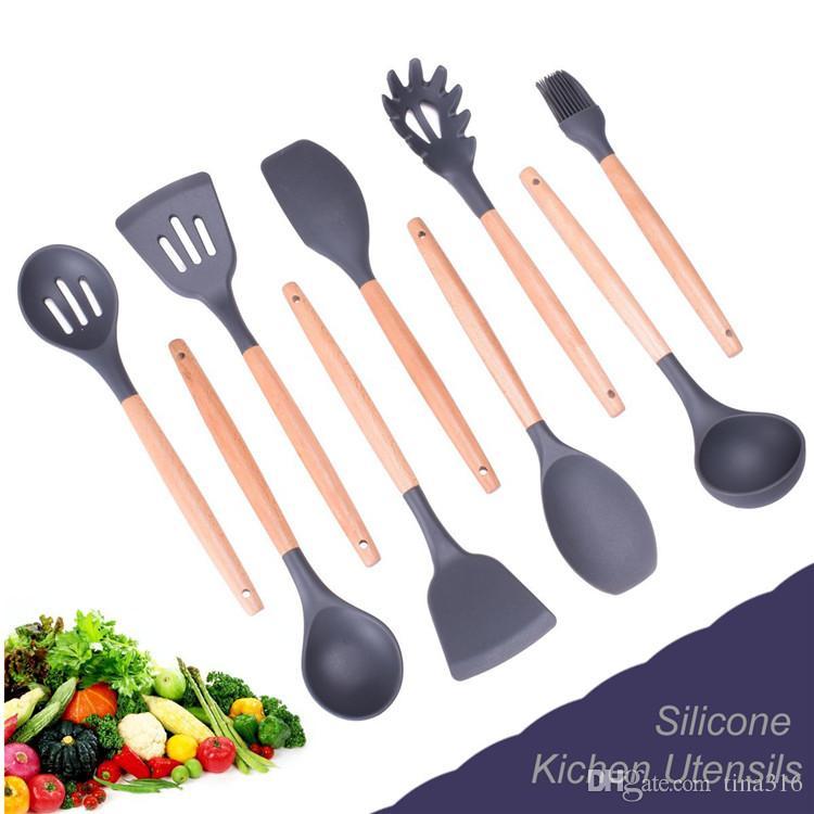 Wood Handle Silicone Cooking Utensils For Kitchen Slotted Turner Spatula Spoon Ladle Spaghetti Tools Cooking Sets T1I040