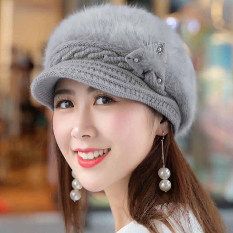 bee67f1a92c HT1918 New Autumn Winter Women Hats Solid Rabbit Fur Hats for Women ...