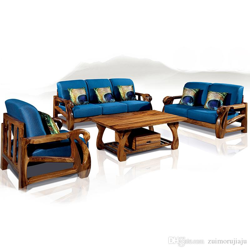 2019 Solid Wood Sofa Living Room Combination New Chinese Wooden