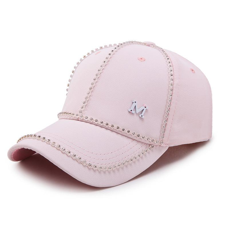 Lady Korean Version Of Fashion With M Standard Baseball Cap Spring And Summer Satin Drill Shading Baseball Cap