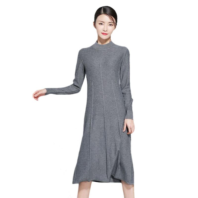 Warm Cashmere Dress For Winter Wool Knitted Winter Dress For Women Long  Sleeves A Line Knitwear Long Slim Sweater Dresses New Junior Party Dresses  White ... 4ada9d367457
