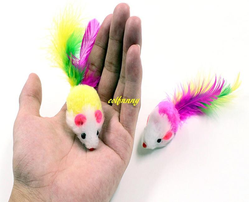 / Livraison gratuite 2 incn Coloré Plume queue Souris Chat jouet mini Chien Pet souris jouets