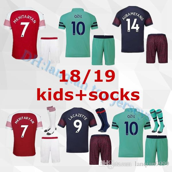 ba1e37e18a6 Kids Kit Arsenal Football Uniform AUBAMEYANG Soccer Jersey 2018 2019 ...