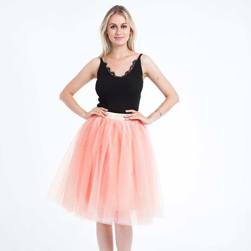 16db51368 5 capas 65cm falda de tul midi princesa para mujer Tutu adulto ropa de moda  Faldas Saia Femininas Jupe estilo de verano