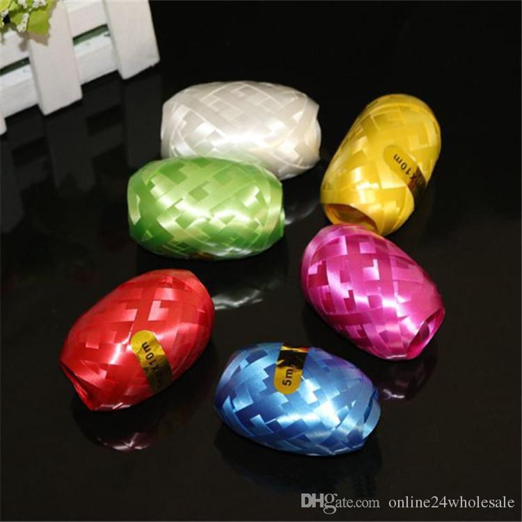 Látex Foil Balloon Color aleatorio Bollon Ribbon 5mm * 10m Party Wedding Party Balloon Ribbon Festival Decoración Juguetes