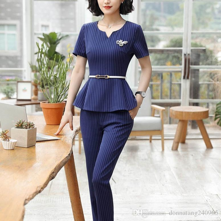 25b8ed9c8d4 Compre 2019 Summer Women Suits Blazer Dress Professional 3 Unids Top + Pant  + Skirt Office Lady Traje De Trabajo Uniforme OL Ruffles Formal Falda Pant  Suits ...
