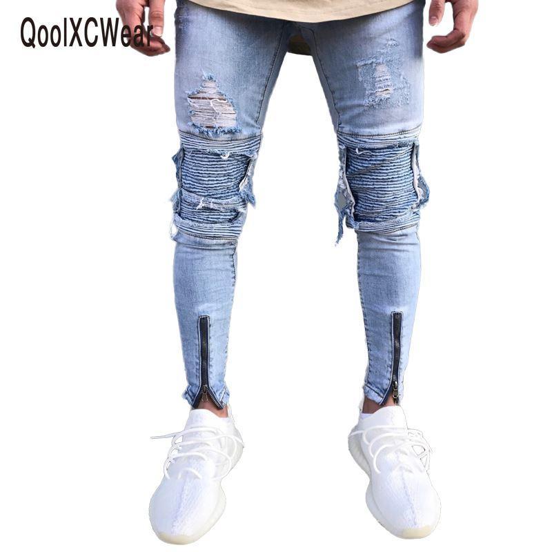 cd808c4ae Compre Slim Fit Pantalones Vaqueros Rotos Hombres Hi Street Para Hombre  Jeans De Mezclilla Desgastados Agujeros De Rodilla Jeans Desgastados  Lavados A ...
