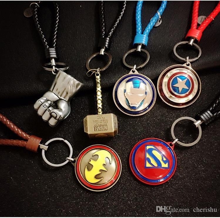 The Avengers Series unique bag pendants Superman Captain American revolving shield key chains Accessories bag pendants wholesale