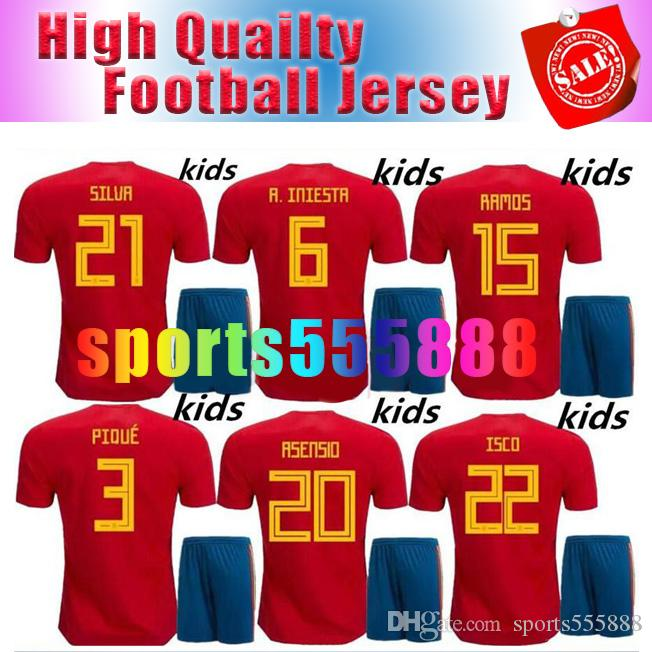 fe07aa95a ... discount code for wholesale stylish and cheap best use 2018 world cup spain  soccer jersey kids