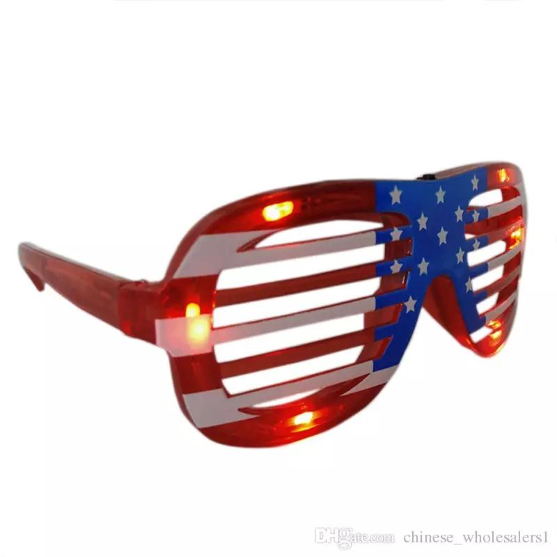 e6d619ae188 2019 Funny Holiday Gifts Flashing Party Christmas LED Glasses American Flag  Blinds Glowing Glasses Luminous Toys For Adults ARI192 From  Chinese wholesale01