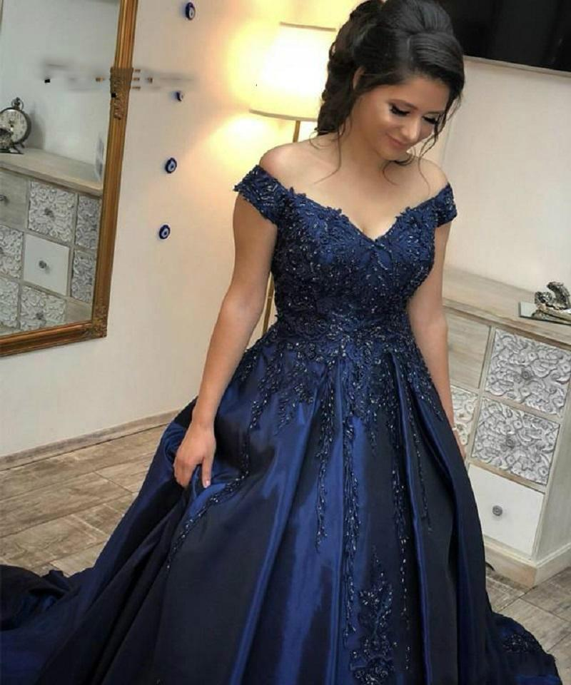 4a71e3bde5 2019 Navy Blue Off Shoulder Ball Gown Prom Dresses Appliques Beaded Satin  Corset Evening Party Wear Robe De Bal Longue Prom Dresses For Sale Prom  Dresses On ...