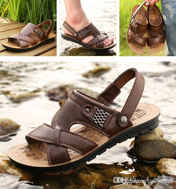 1ad75388b180 2018 New With Box Summer Beach Shoes Mens Leather Sandals Slippers Leather  First Layer Of Leather Tendon Slip Tide Size Three Styles Saltwater Sandals  ...