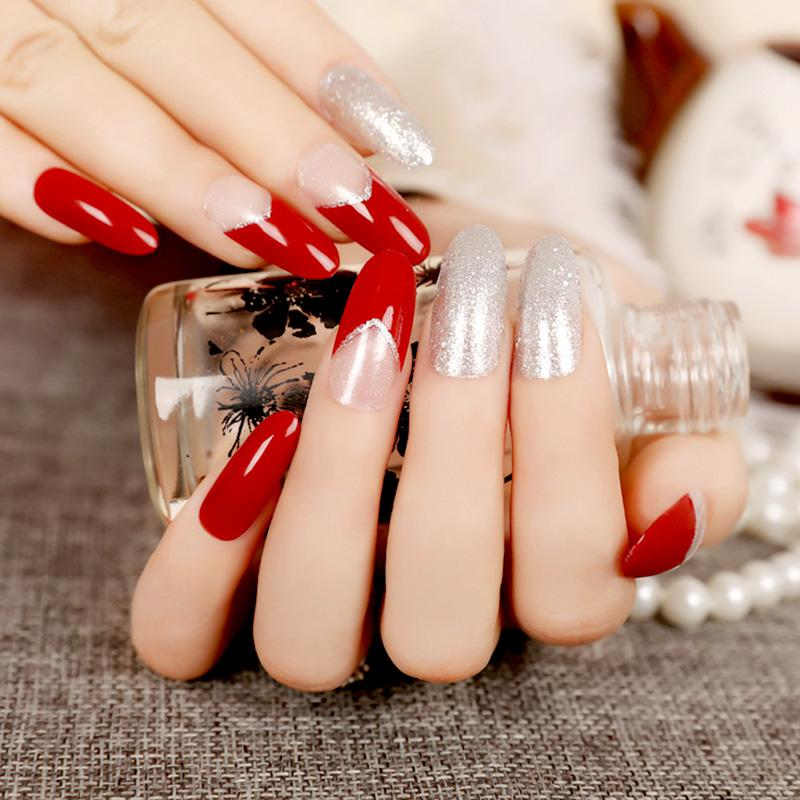 Long Round Top French Fake Nails Red Clear Crystal With Bling Silver ...