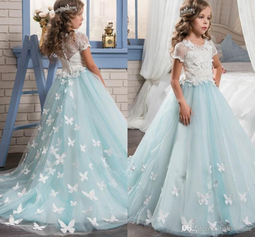 4813dc598bd Babyonline Cheap Flower Girl Dresses For Wedding 2018 Vintage Butterfly  Fitted Sheer Lace Appliques Kids Communion Dresses Formal MC1291 Flower  Girl Dresses ...