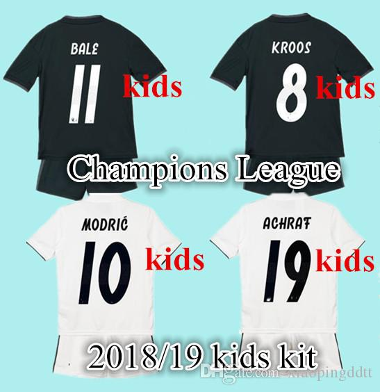 2019 2019 Kids Real Madrid Kits Home Soccer Jerseys New Font 18 19 RONALDO  Black JAMES BALE RAMOS ISCO MODRIC Football Shirt Thailand Quality From ... 6541f9b9e