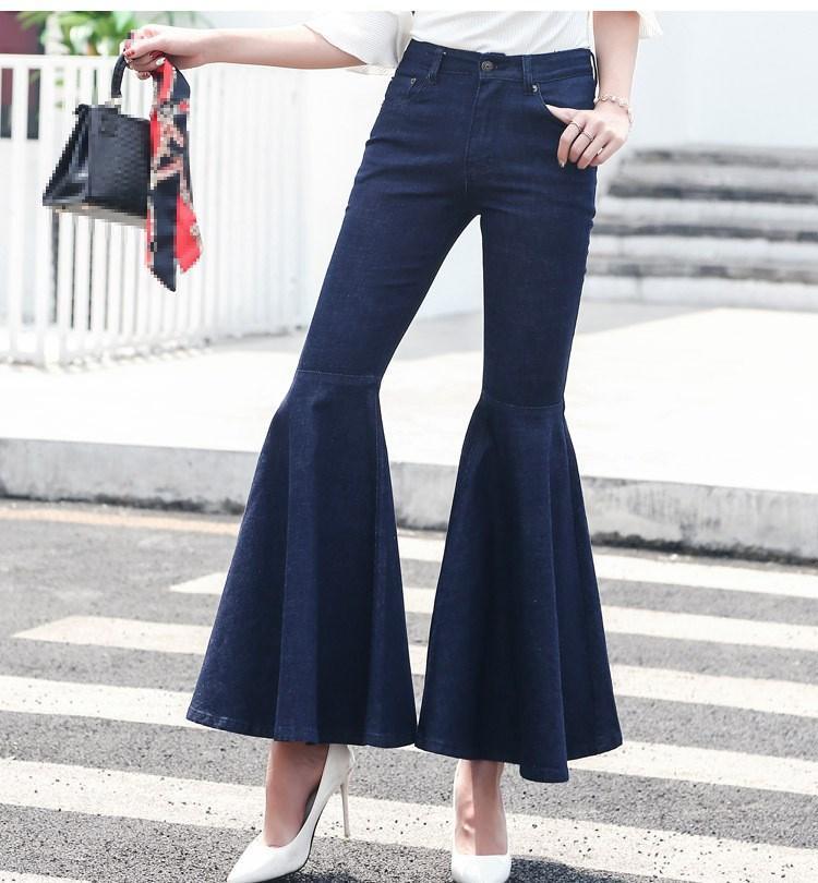 Compre Mujeres Vintage Cintura Alta Flaco Flare Jeans Volantes Puños  Bolsillos Pantalones Anchos De La Pierna Lavado Lavado Azul Jean Jean A   37.09 Del ... ff168f34f35