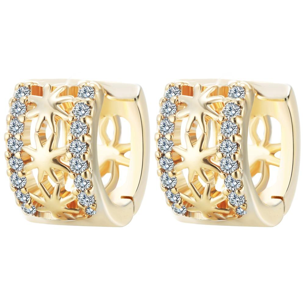 Wholesale- QIMING New Gold Micro Pave CZ Crystal Star Hollow Earrings for Women  Cute Fashion Small Hoop Earrings Jewelry Brincos Earrings Fashion Earrings  ... 4869c03fa3b3