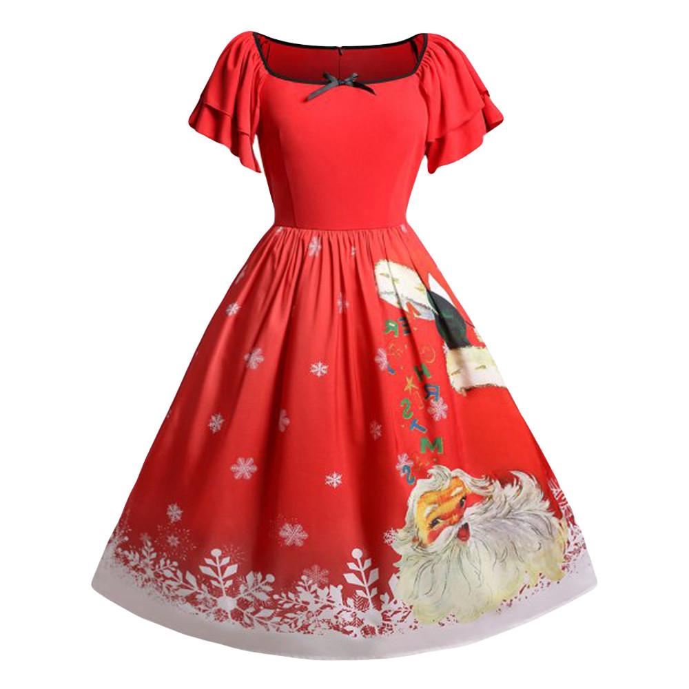 Feitong Women Christmas Dress Plus Size Vintage Ladies Sexy Short Sleeve  Bow Santa Claus Print Party Mini Dress Vestidos Verano Summer Lace Dress  Black ... 0674f5af9792