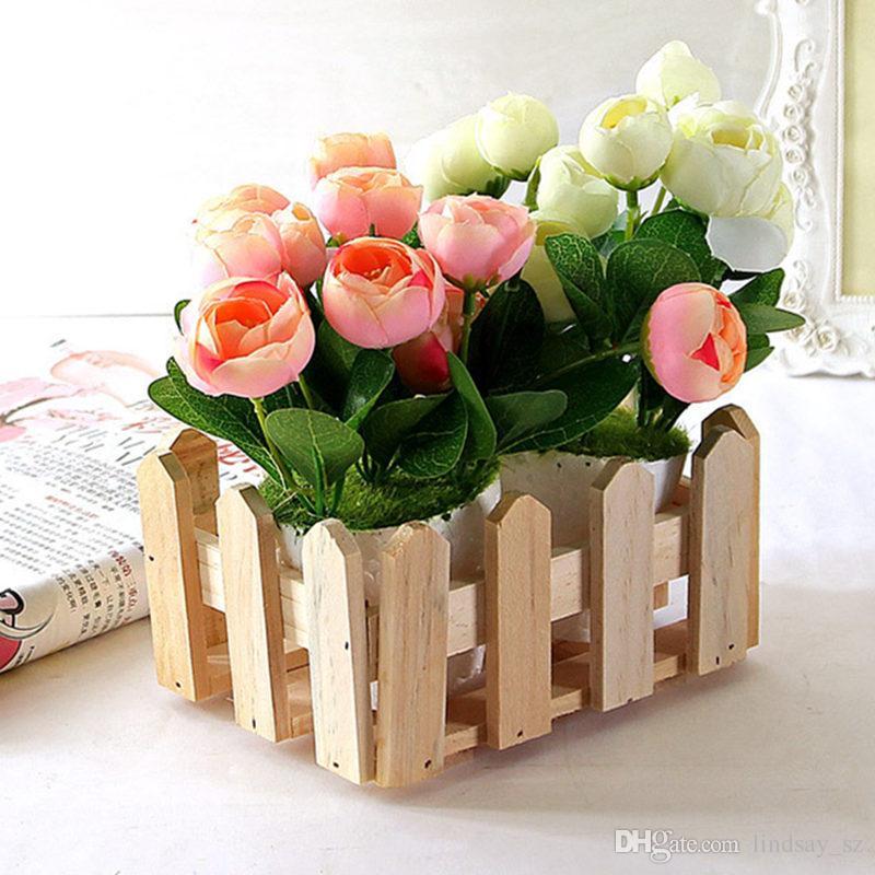 Wood Storage Box Wooden Flower box Fence Flowers Planter Simulation Flower box Home Garden Decoration F20173456