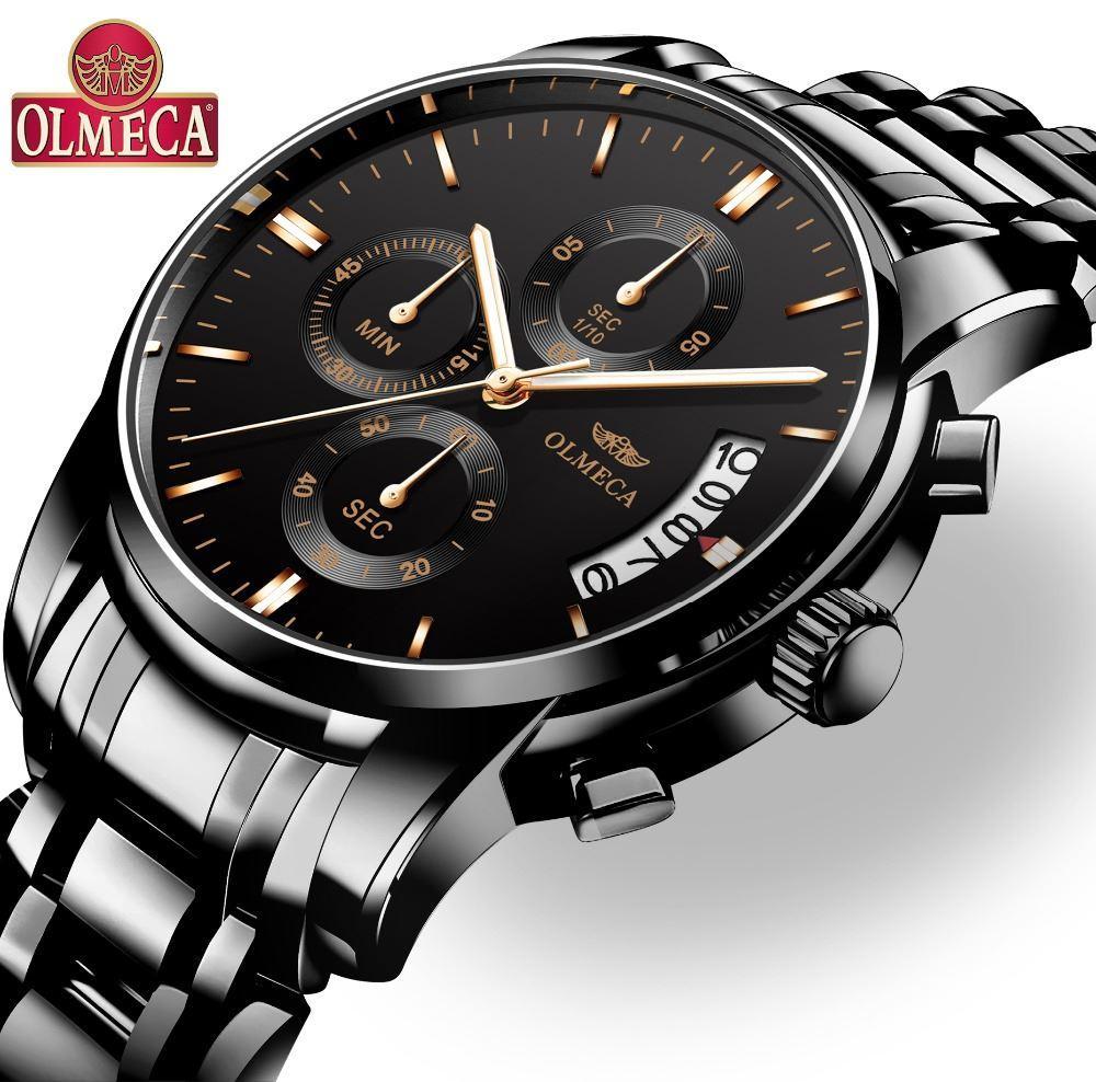 985ab3e2ba3 Compre OLMECA Homens Assista Top Marca De Luxo Relogio Masculino Relógios À  Prova D  Água De Aço Inoxidável Moda Calendário Completo Relógio De Pulso  De ...