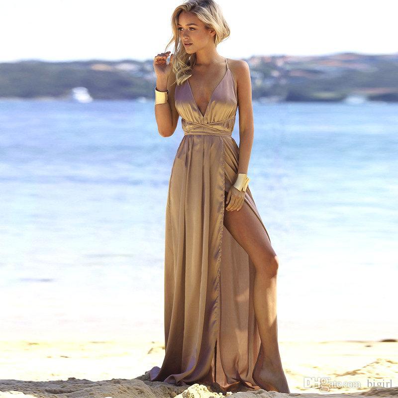c33063348659 Acquista Vestito Da Spaccatura Sexy Estivo Da Spiaggia Le Donne Vestito  Colorato Elegante Da Abbellimento Solido Colorato Di Moda Impero  Abbigliamento Da ...