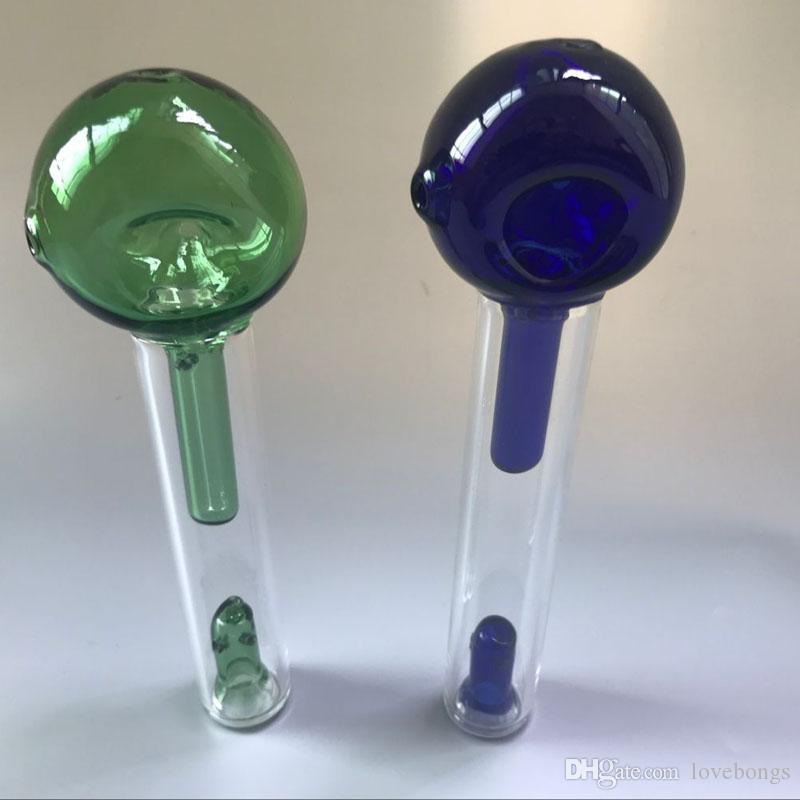 """2018 USA Glass Pocket Bubbler 6.5"""" Inch With Large Side Carb Hole Mini Glass Spoon Hand Pipe Tobacco Smoking Water Bong Pipes"""