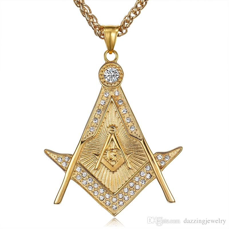 Wholesale high quality 316 stainless steel gold religious freemason wholesale high quality 316 stainless steel gold religious freemason masonic pendant free mason emblem ag pendant necklace jewelry with crystal stones aloadofball Gallery