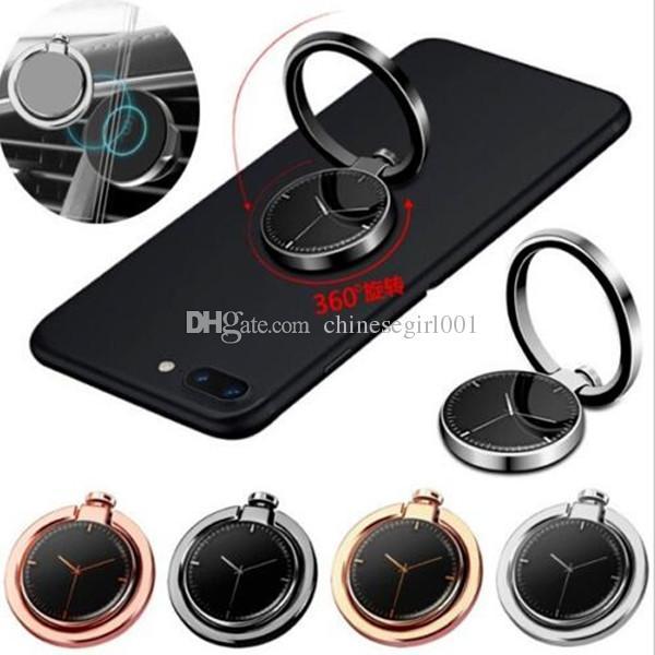Soporte universal para teléfono de 360 grados con forma de reloj, soporte para anillo de metal, teléfono móvil para iPhone 7 8 Samsung Huawei