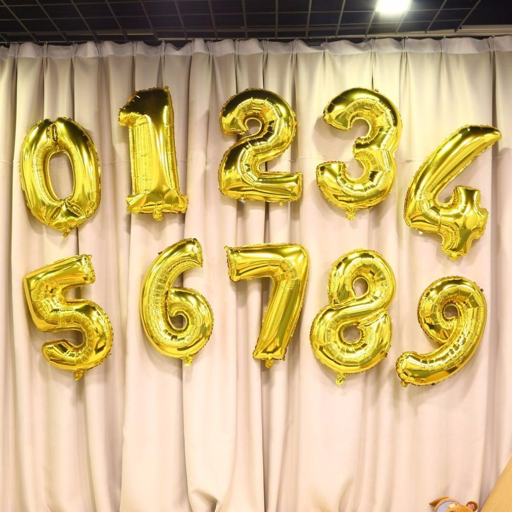 2018 Digit Balloons 30 Inch Foil Mylar Gold For Wall Decoration ...