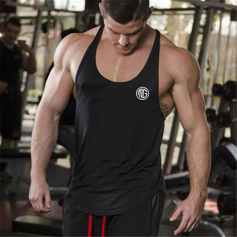 430d1f16bbc3a 2019 Muscleguys Brand Bodybuilding Clothing Fitness Racerback Tank Top Men  Sportwear Sleeveless Vest Cotton Singlets Muscle Shirt From Sugarlive