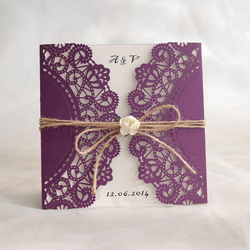 wholesale 100 pack purple flower decoration small bouquet new year festival invitations cards customize blank wedding invitation online with 23811set on