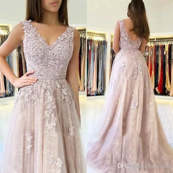 8f2e8e815a5 2019 Elegant V Neck Sleeveless Long Prom Dresses Lace Appliqued A Line Tulle  Formal Evening Gowns Zipper Back Sweep Train Prom Dress Designers Prom Dress  ...