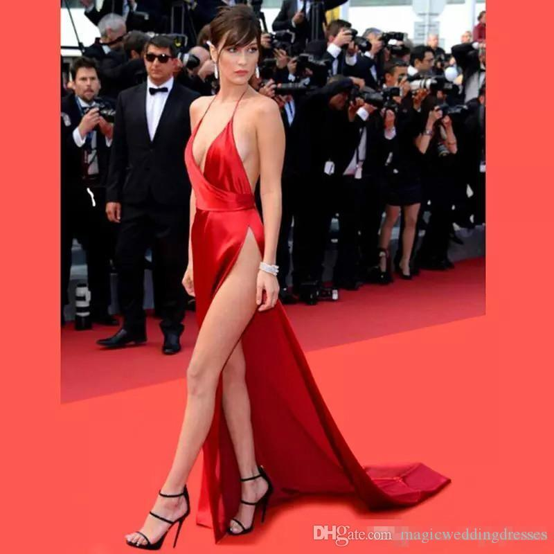 Cheap Deep V Neck Bella Hadid Celebrity Dresses Prom Gowns Long Red Carpet High Split Formal Dress Halter Sexy Evening Party Dress