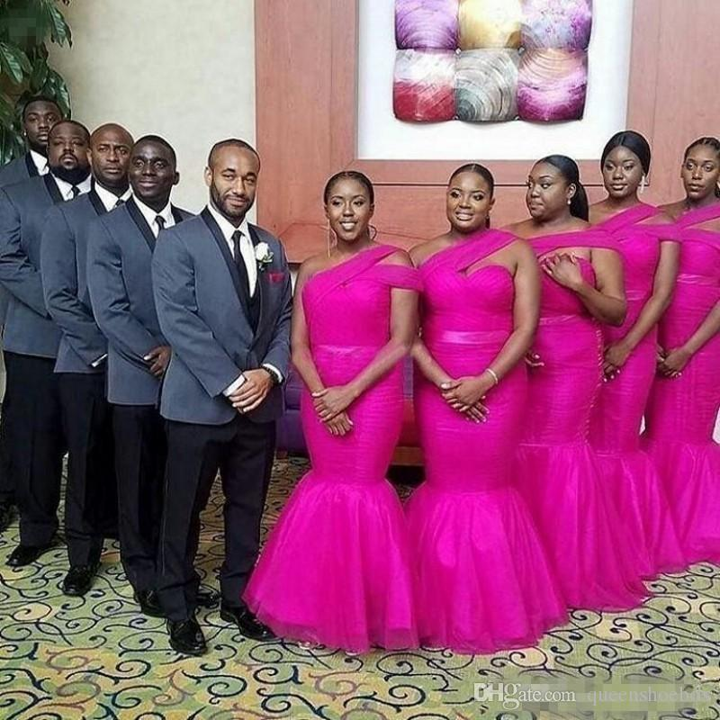 dca5d909756 African Fuchsia Plus Size Bridesmaid Dresses Long One Shoulder Mermaid Prom  Dress Floor Length Maid Of Honor Wedding Guest Dress Lace Wedding Dress  Gowns ...