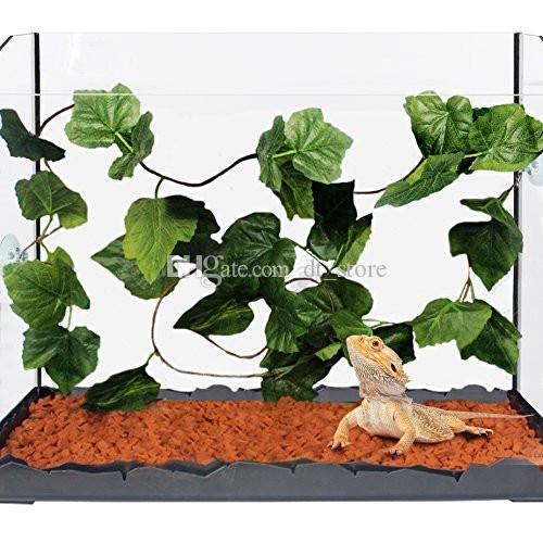 2019 Artificial Reptile Plants Vines With 3 Sunction Cups Green