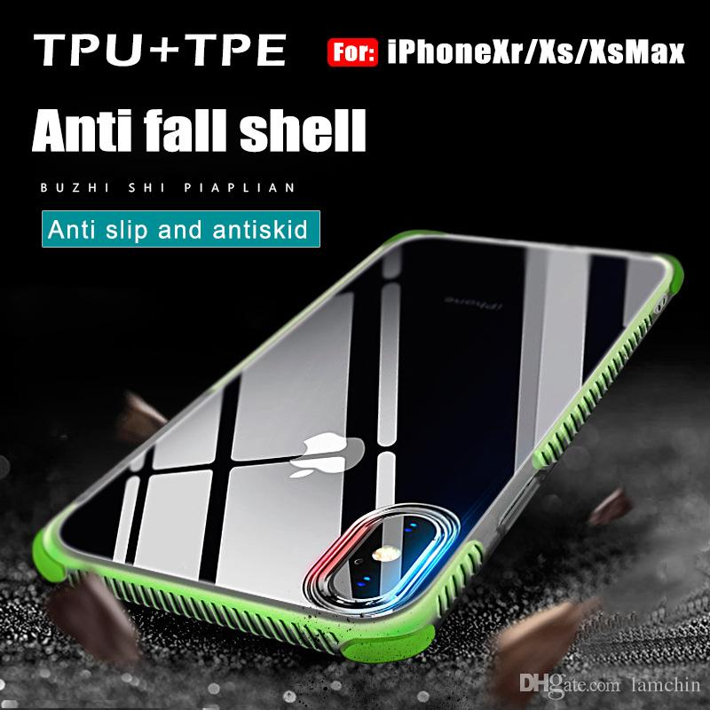 For iPhone XS Max iPhone XR Shockproof Transparent Case Soft Gel TPU Phone Case Clear Back Cover For S10 S10PLUS s10lite with package