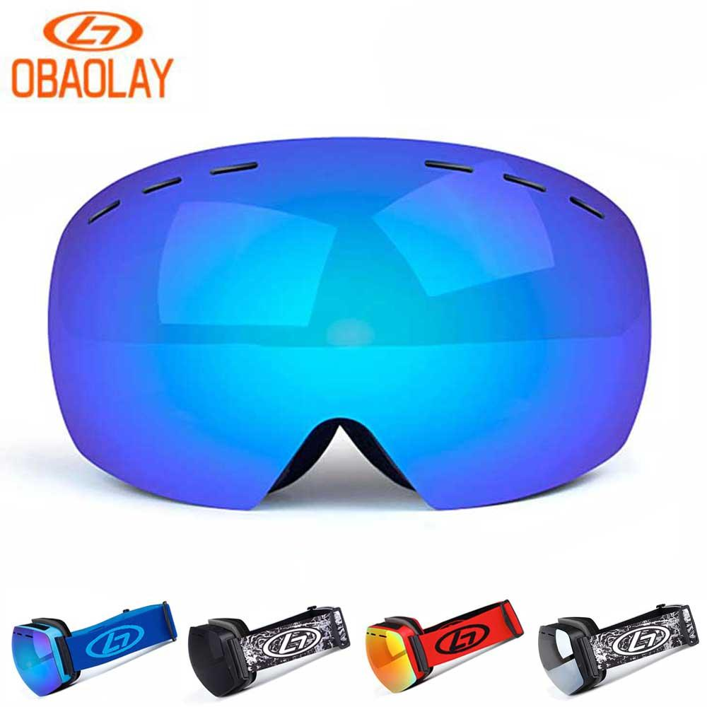 651d6cdab0c2 2019 OBAOLAY Snowboard Glasses UV400 Ski Goggles Anti Fog Skiing Mask Men  Women Snowboarding Glasses Snow Adult Spherical Eyewear New From  Miaoshakuai
